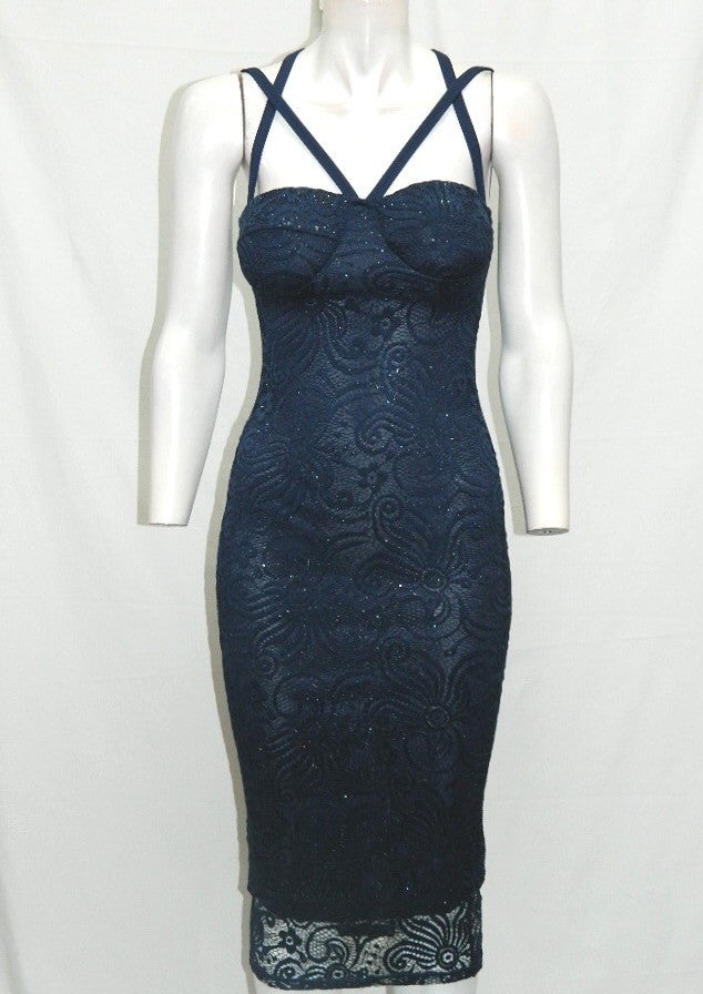 Navy Sparkly Multi Strap Lace Dress