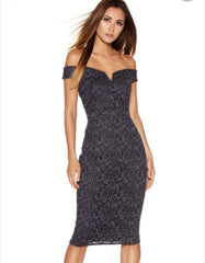 Grey Glitter Lace Bardot Midi Dress