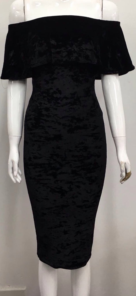 Crushed Velvet Black Bardot Dress