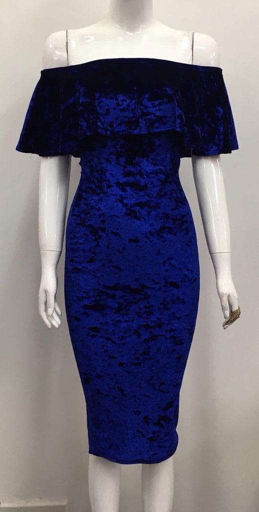 Crushed Velvet Royal Blue Bardot Dress