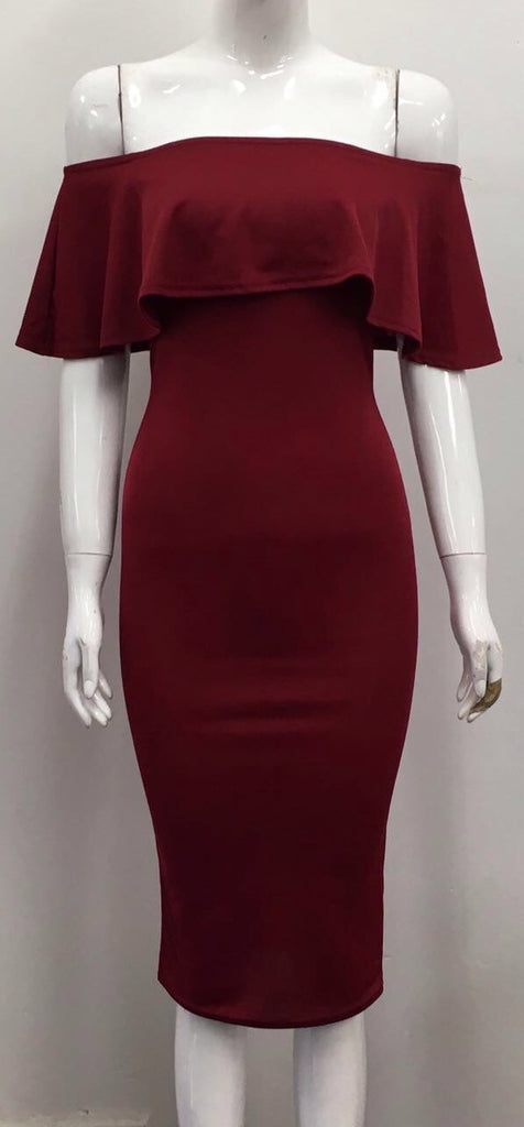 Burgundy Bardot Bodycon Dress
