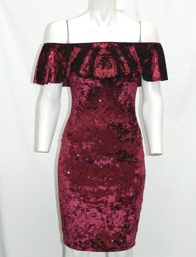 Sparkly Red Velvet Bardot Dress