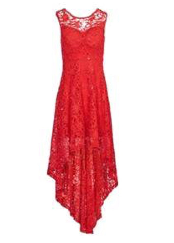 Red Lace Asymmetric Dress