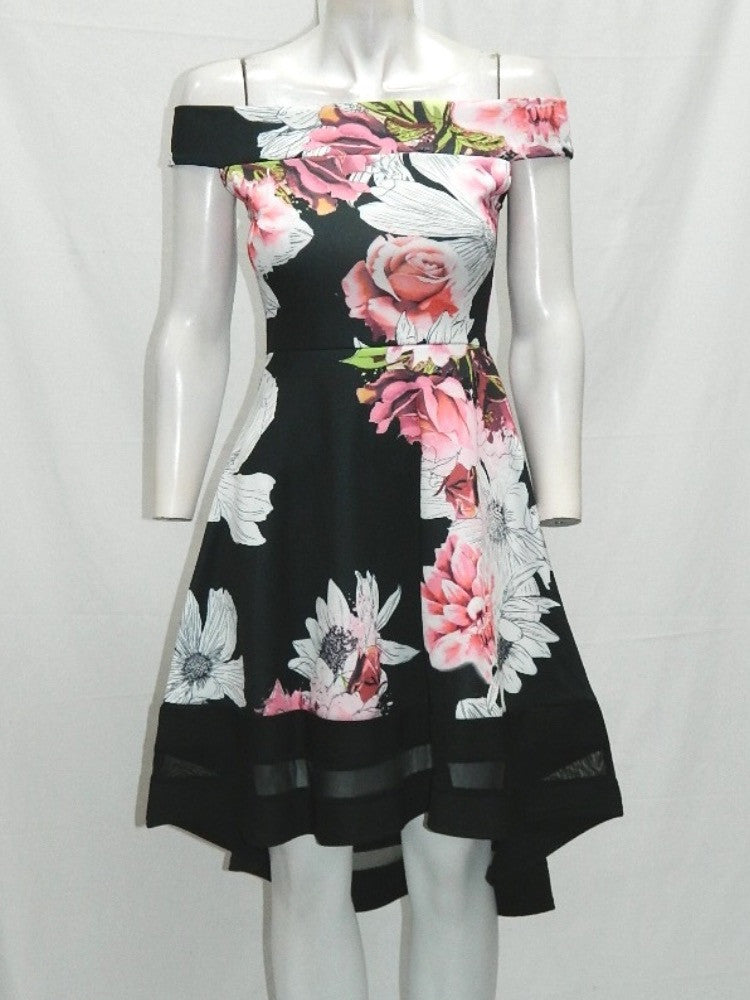 Black, White and Pink Floral Print Bardot Asymmetric dress