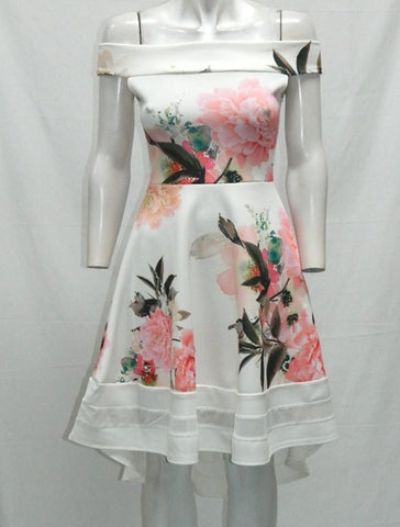 White Floral Print Bardot Asymmetric Dress