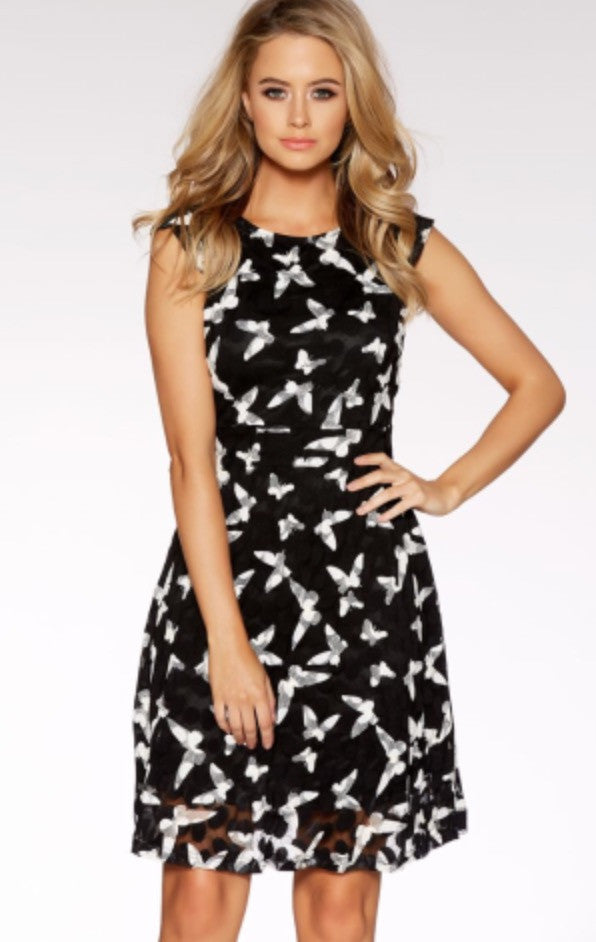 Black and white mesh butterfly dress