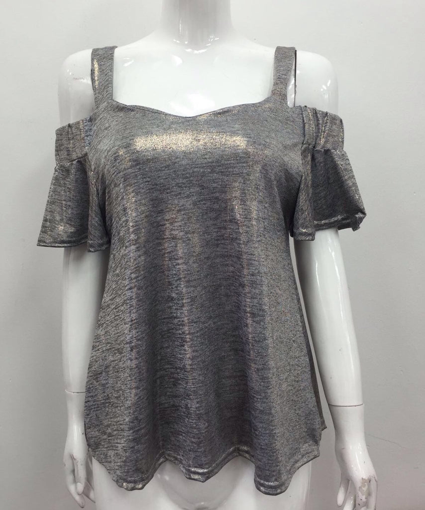 grey bardot top