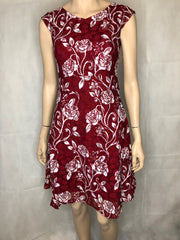 Navy or Red Rose Print Dress