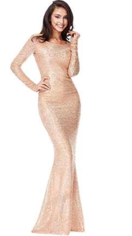 Open Back Sequin Fishtail Maxi Dress