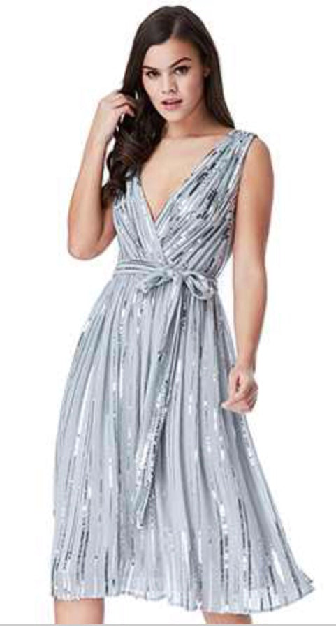 Grey Sequinned Chiffon Skater Dress With Belt