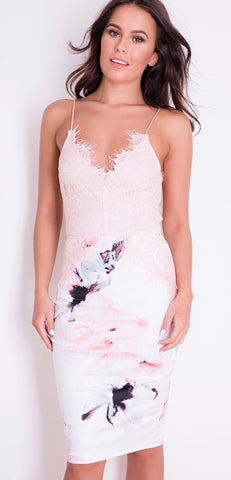 Florence Floral Lace Midi Dress White and Nude