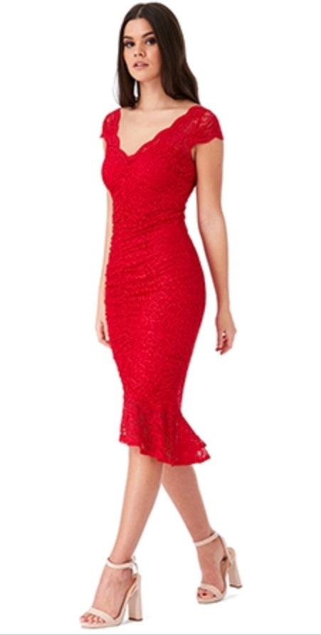 Red V Neck Lace Midi Dress with Frilled Hem