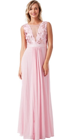 V Neckline Chiffon Maxi Dress