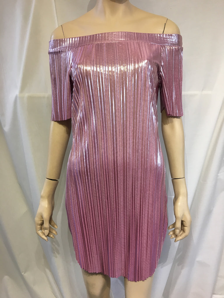 Pink Metallic Crimped Bardot Dress
