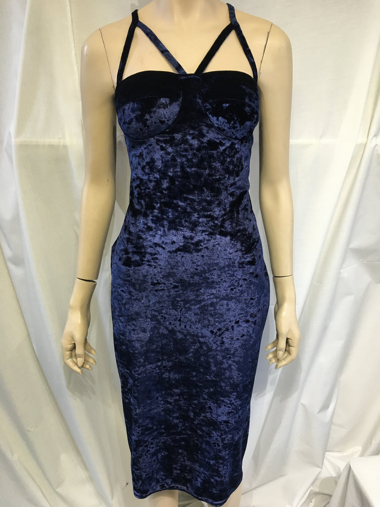 Blue Crushed Velvet Detailed Strap Dress