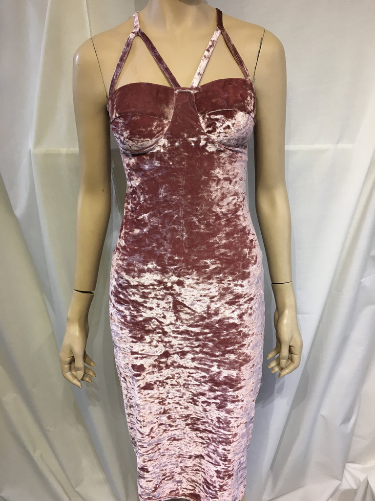 Pink Crushed Velvet Detailed Strap Dress