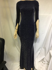 Blue Sparkly Scarf Backless Dress
