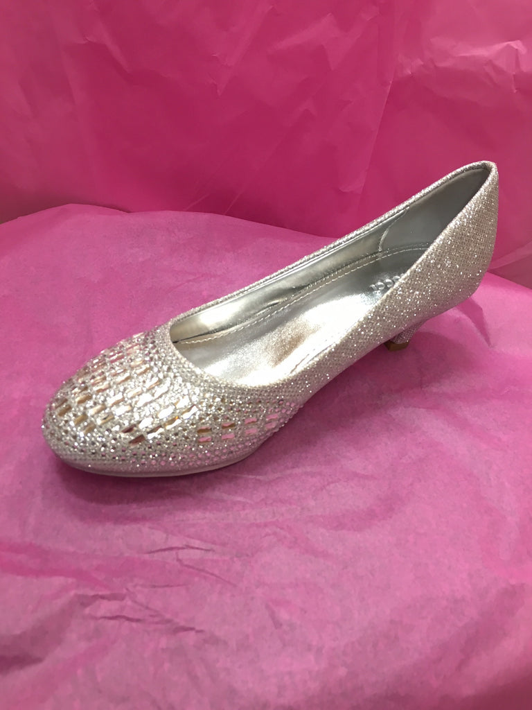 Sparkly Silver Chunky Heel Shoes