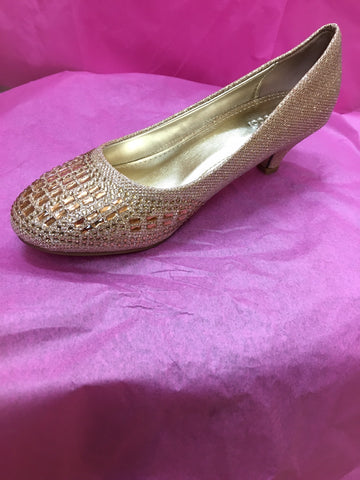 Sparkly Gold Chunky Heel Shoes