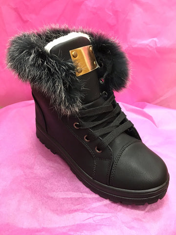 Black Furry Boots