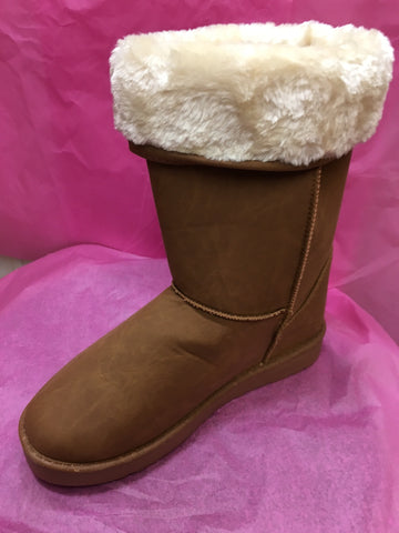 Furry Tall Boots (Black and Brown)