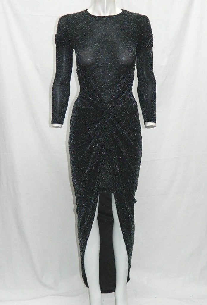 Black Sparkly Twist Design Dress