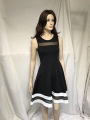 Black and White Mesh Skater Dress