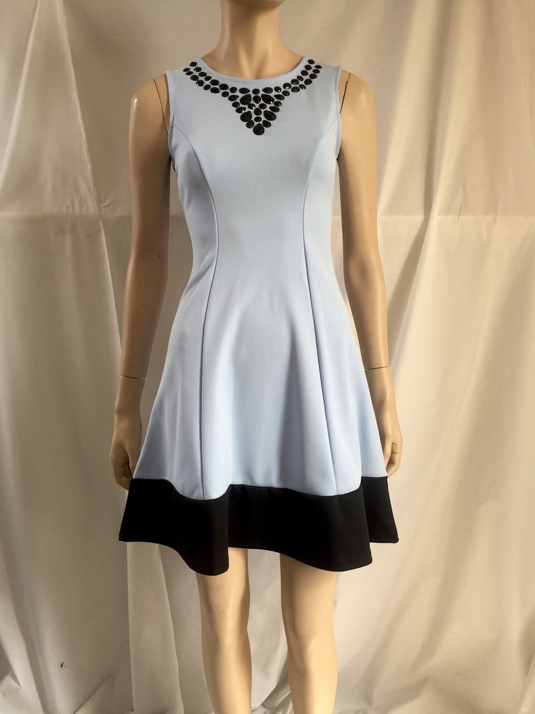 Pale Blue Dress with Black Bottom