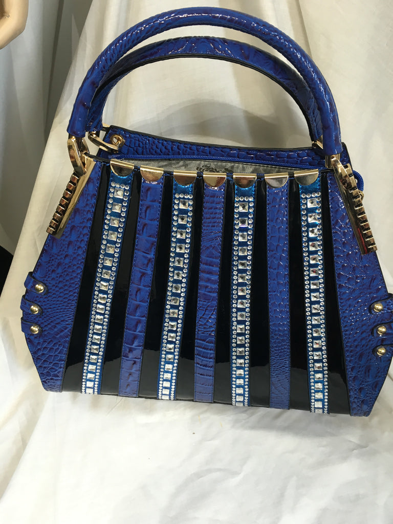 blue striped handbag