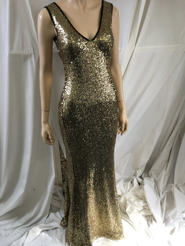Gold Sequined Fishtail Maxi Dress