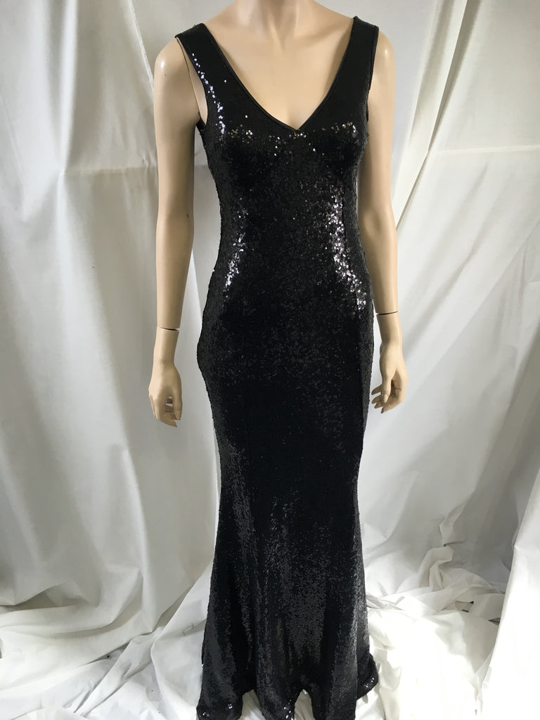 Black Sequined Fishtail Maxi Dress