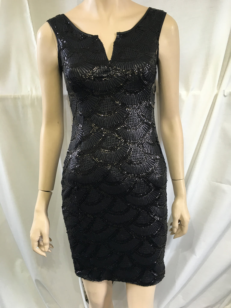 Sequinned Black Dress
