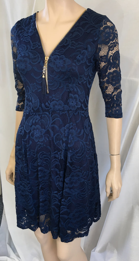 Navy Peplum dress with sleeves
