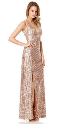 Rose Gold Sequin V Neck Zig Zag Maxi Dress