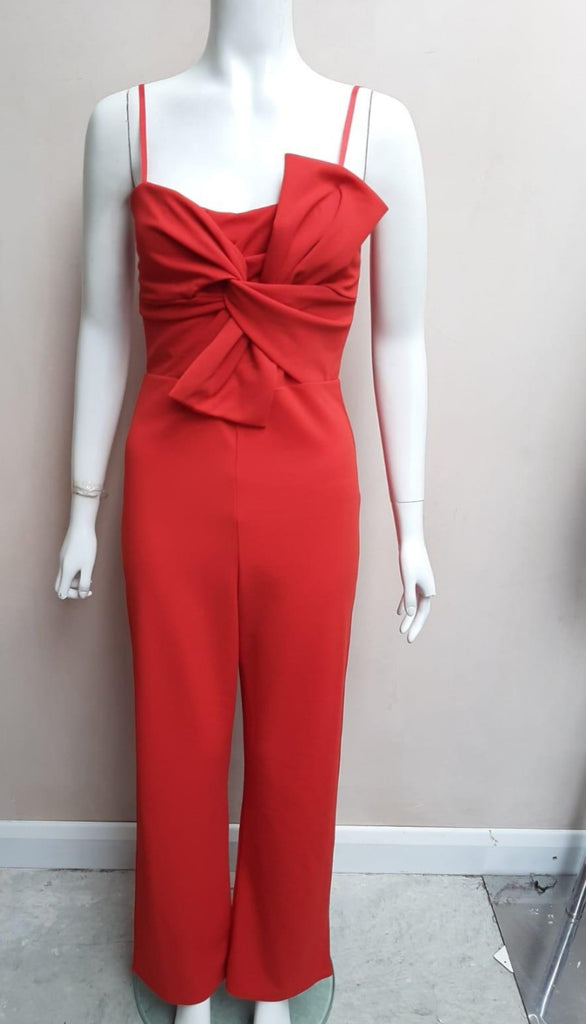 Red Jumpsuit With Bow Accessory and Spaghetti Straps