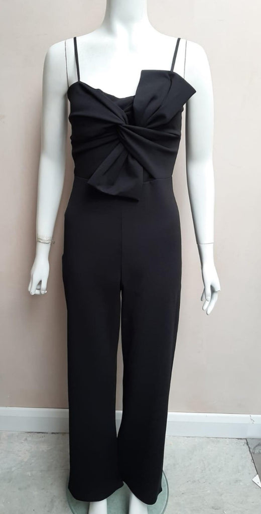 Black Jumpsuit With Bow Accessory and Spaghetti Straps