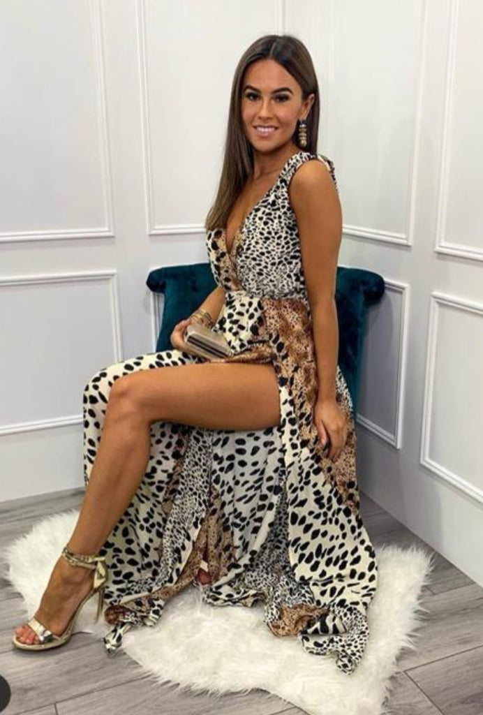 Wrap Style Dress with Animal Print Maxi Dress
