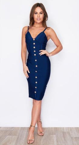 Navy bandage button dress