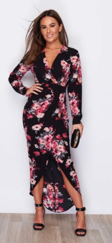 Black and Pink Long Sleeved, V Neck Maxi Dress with Floral Pattern