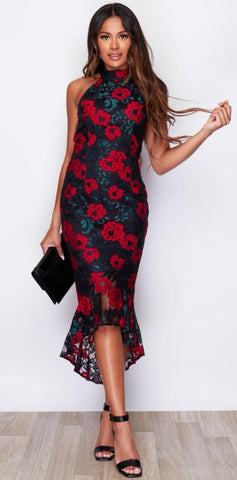 Green and Red Holter Kneck Maxi Dress With Floral Pattern