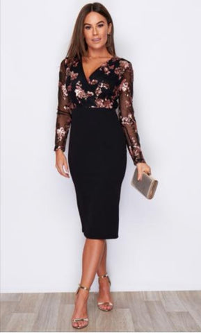 Long Sleeved Dress with Rose Gold Floral Pattern