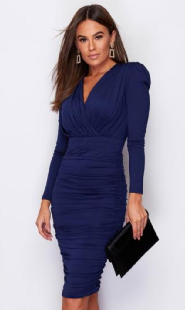 Navy Dress with Ruffle Detail