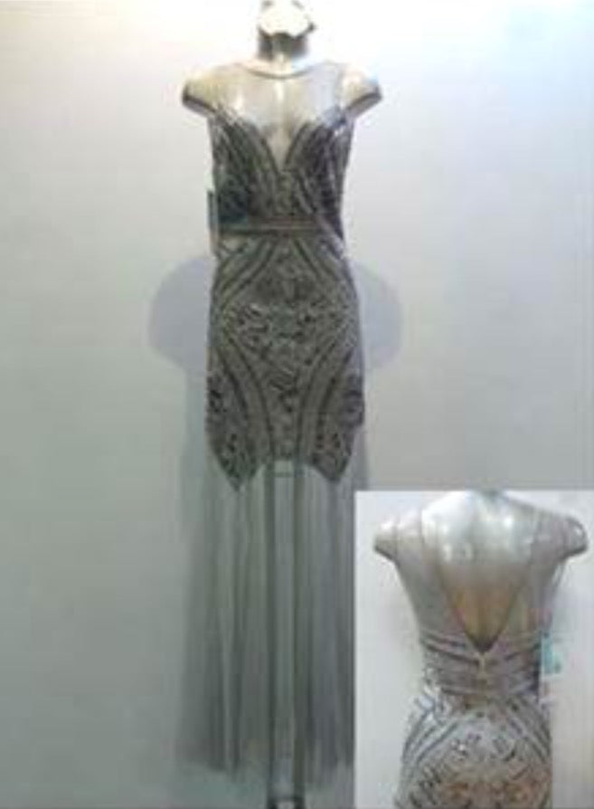 Silver Long Sequin Dress D723310