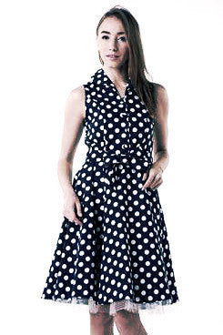Vintage blue polka dots dress