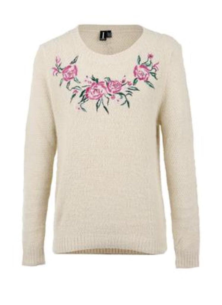White Jumper with Pink Floral Pattern