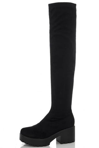 Black Chunky Heel Over The Knee Boots