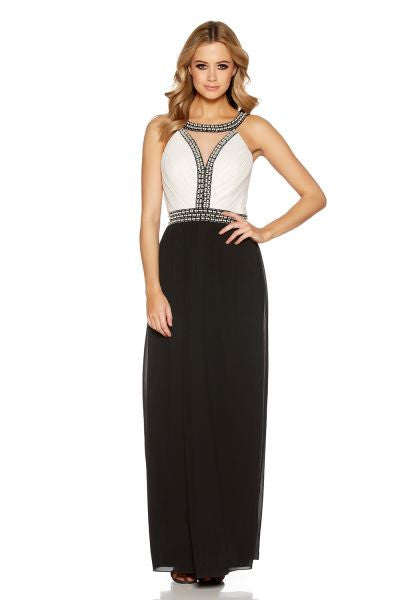 Cream And Black Pearl Embellished Maxi Dress