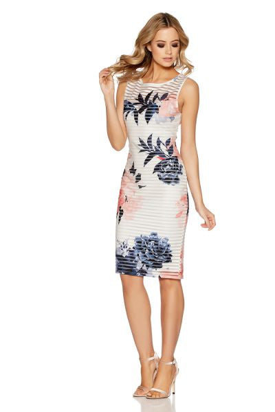 Cream And Coral Floral Sleeveless Midi Dress
