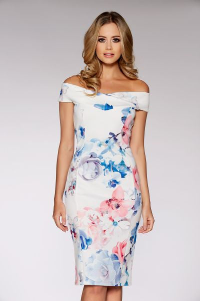 Cream Blue And Pink Floral Print Bardot Bodycon Dress