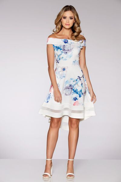 Cream Blue And Pink Floral Print Bardot Dip Hem Dress